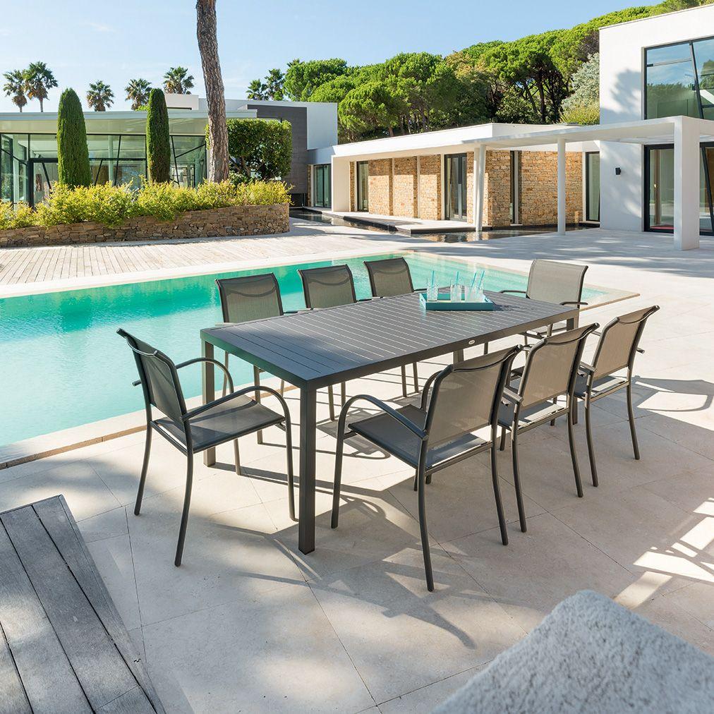 Table De Jardin Piazza Aluminium 210 X 100 Cm Marron Table  # Table De Jardin Qui Ne Rouille Pas