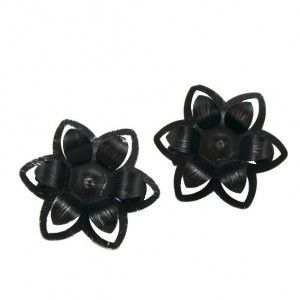 Set di due mollette fermatenda Fleurs Nero