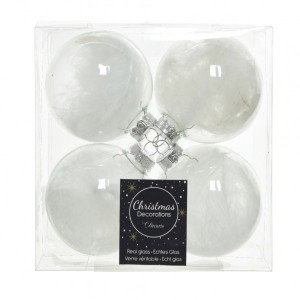 Lot de 4 boules de Noël (D70 mm) Plumes Transparent