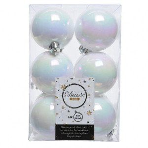 Lot de 12 boules de Noël (D60 mm) Alpine Blanc irisé