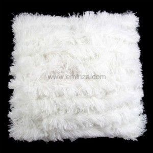 Coussin Poil long Blanc