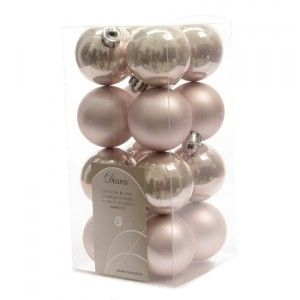 Lot de 16 boules de Noël (D40 mm) Alpine Rose poudré