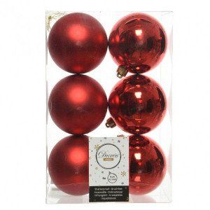 Lot de 6 boules de Noël (D80 mm) Alpine Rouge