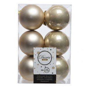 Lot de 12 boules de Noël (D60 mm) Alpine Perle