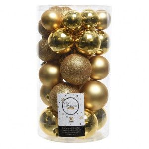 Lot de 30 boules de Noël assorties Alpine Or