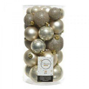 Lot de 30 boules de Noël assorties Alpine Perle