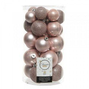 Lot de 30 boules de Noël assorties Alpine Rose poudré