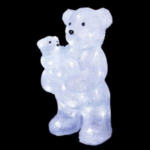 Oso luminoso y su osezno Blanco frío 56 LED