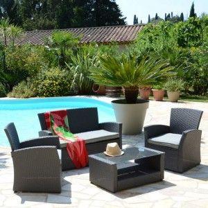 Salon de jardin r sine tress e platillo gris clair 2 - Salon de jardin en resine tressee gris clair ...