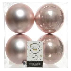 Lot de 4 boules de Noël (D100 mm) Alpine Rose poudré