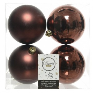 Lot de 4 boules de Noël (D100 mm) Alpine Rouge brun