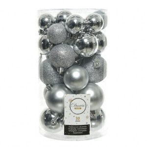 Lot de 30 boules de Noël assorties Alpine Argent