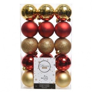 Lot de 30 boules de Noël (D60 mm) Alpine multi Rouge / Or