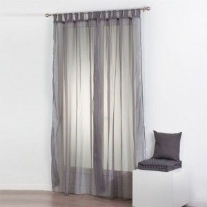 Lot de 2 voilages (140 x 240 cm) Uni Gris