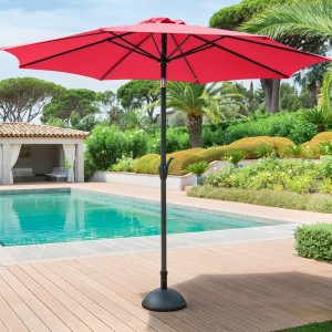 Parasol inclinable Fidji rond (D 3 m) - Framboise
