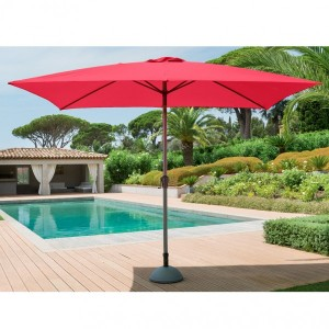Parasol inclinable rectangulaire Fidji (L 3 x l 2 m) - Framboise