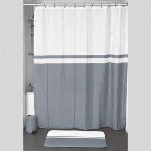 rideau de douche velours bicolore gris premium rideau de douche eminza. Black Bedroom Furniture Sets. Home Design Ideas
