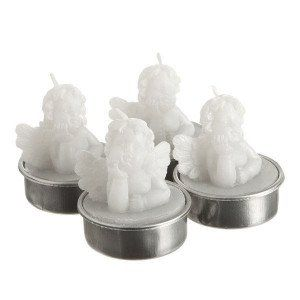 Lot de 4 bougies Anges Blanc