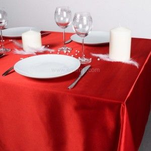 Nappe rectangulaire (L360 cm) Satin Rouge