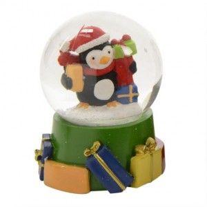 Boule � neige Pingouin joyeux et ses cadeaux