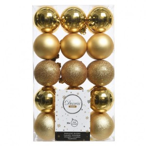 Lot de 30 boules de Noël (D60 mm) Alpine Or