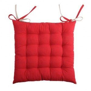 Coussin De Chaise Bicolore Rouge Et Lin