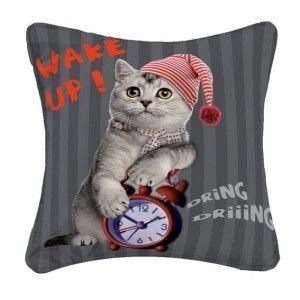 Housse de coussin Cat Wake up
