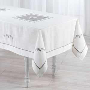 Nappe rectangulaire (L240 cm) Amandine - brod� Blanc