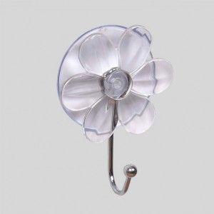 Crochet fleur ventouse transparent pat res et crochets - Crochet ventouse salle de bain ...
