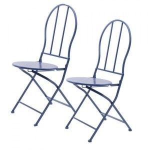 Lot de 2 chaises de jardin London Bleu