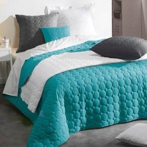 couvre lit 220 x 240 cm candy bleu couvre lit boutis. Black Bedroom Furniture Sets. Home Design Ideas