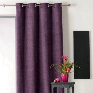 Rideau fils largeur 90 cm spaghetti prune rideau de porte eminza for Rideau aubergine