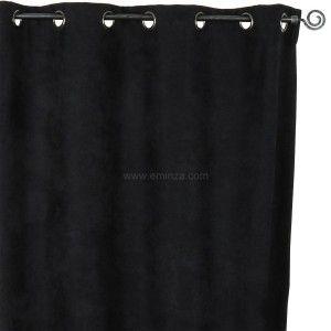 rideau occultant isolant 140 x h260 cm alaska noir rideau isolant eminza. Black Bedroom Furniture Sets. Home Design Ideas