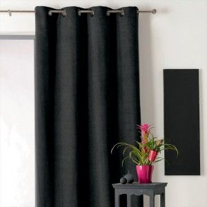 Noir + Hauteur 260 cm - Rideau / voilage / store - Eminza