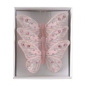 Lot de 3 papillons Plumy Rose