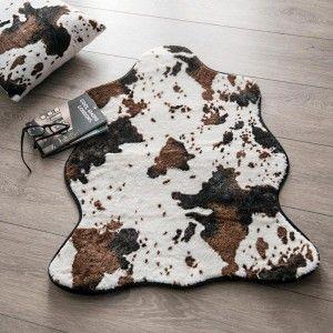 Tapis peau de b te 90 cm imitation fourrure blanc - Tapis imitation peau de vache ...