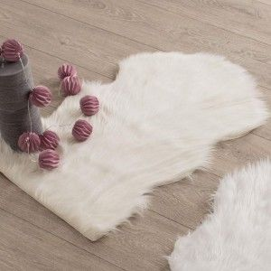 Tapis peau de b�te (90 cm) imitation fourrure Blanc