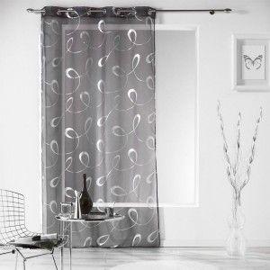 voilage 140 x 240 cm infinity gris voilage eminza. Black Bedroom Furniture Sets. Home Design Ideas