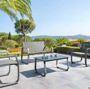 Salon de Jardin Gili Anthracite - 4 places
