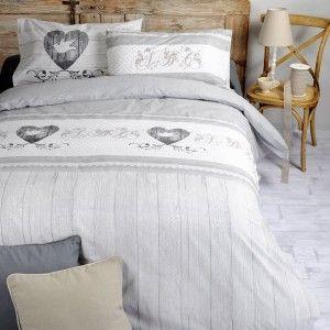 housse de couette et deux taies 240 cm bi color gris et perle housse de couette eminza. Black Bedroom Furniture Sets. Home Design Ideas