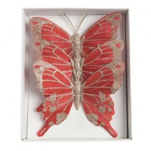 Lot de 3 papillons Aporia Rouge