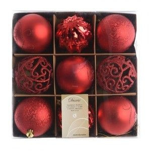 Lot de 9 boules de Noël Multigenre Rouge