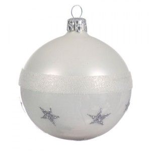 Lot de 6 boules de Noël (D80 mm) Star Blanc