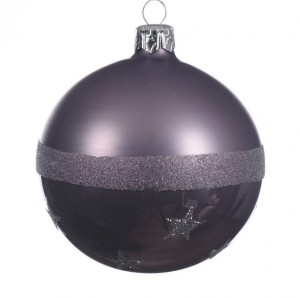 Lot de 6 boules de Noël (D80 mm) Star Lilas