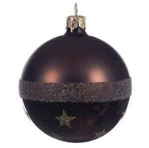 Lot de 6 boules de Noël (D80 mm) Star Chocolat