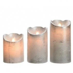 Lot de 3 bougies votives LED Luzi Argent