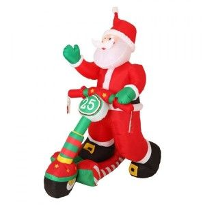 Babbo Natale gonfiabile e luminoso in scooter