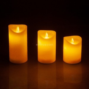 Lote de 3 velas votives LED  Blanco lana