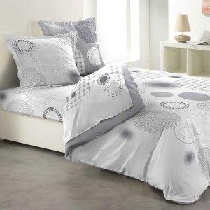 parure de draps coton lit 140 cm 4 pices bulleo gris clair - Parure Lit 140x190