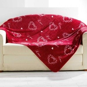 Plaid pile (150 cm) Home love Rosso